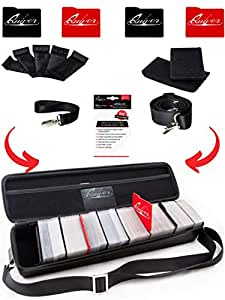 Black Carrying Game Card Case - PU Leather Exterior with Double Zipper, Dividers, Hand & Shoulder Strap | Fits up to 1300 Cards | Deck Box Compatible + 100 Card Sleeves