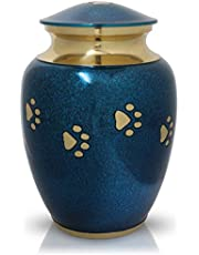 Royal Matter Paw Print Pet Cremation Urns for Dogs and Cats Ashes - Memorial Keepsake for Sympathy Gift Classic Brass Urn for Pet Ashes - 7.5″ x 4.5″, Medium, Blue Marble