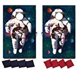 VictoryStore Cornhole Games - Astronaut Cornhole Game - Space Gift Bag Toss Game - 8 Bags Included - Wooden Boards