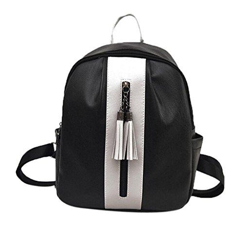 Women Fashion Leather Tassel Backpack Travel Shoulder Bag White - 3