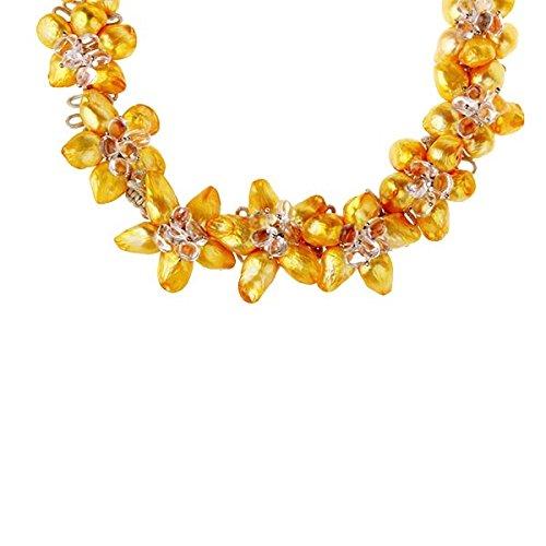 Gautrey Paris - Happy Lime - Collier - Perles incroyables - Jaune teinté, Marron chocolat, Reflets verts