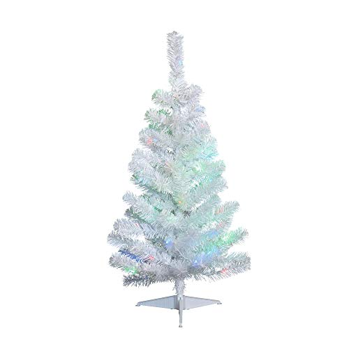 NOMA 3-Foot Pre-lit Christmas Tree with Lights | White Tabletop Tree | Color-Changing LED Bulbs | Warm White and Multicolor Lights (Christmas Lit Pre White Tree)