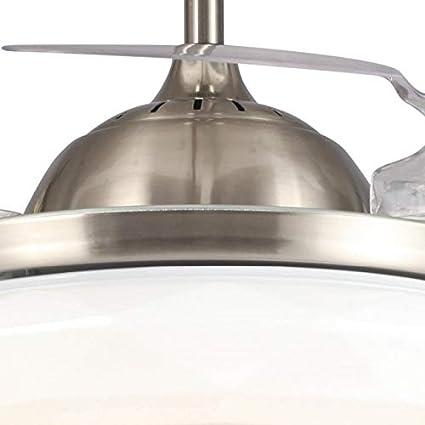 Ventilador LED color níquel 32W 4 Palas plegables 42 pulgadas transparente: Amazon.es: Iluminación
