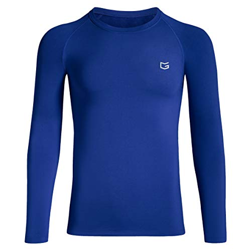 Boys' Compression Shirt Youth Fleece Thermal Long Sleeve Cold Gear Undershirts for Boys (Blue, Medium) (Shirts Cold Long Gear Sleeve)