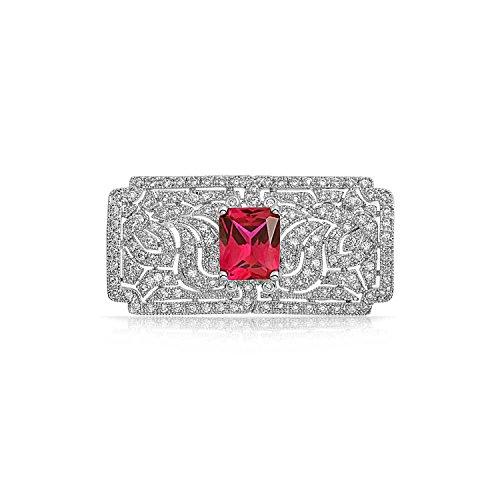 Bling Jewelry cadeaux rouge rubis CZ Style Art déco Leaf Broche Broche Gatsby inspiré