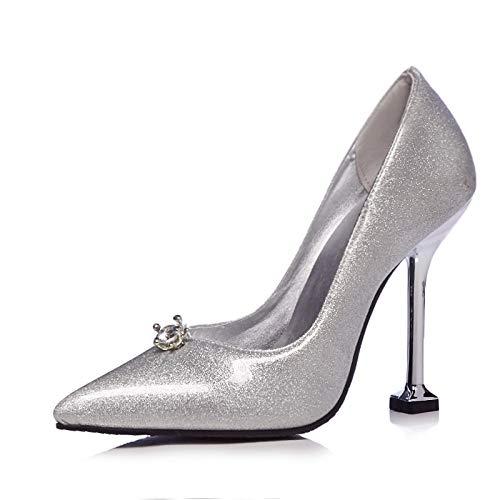 Plataforma 34 Bombas High 48 Mujeres De Heel Menos Patent Point Tamaño Grande Hoesczs Boda Stiletto Toe Shoes Strange Silver Mujer TPSxnwU7q