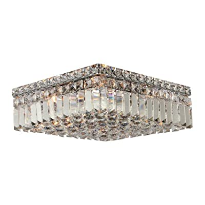 """Worldwide Lighting Cascade Collection 4 Light Chrome Finish and Clear Crystal Flush Mount Ceiling Light 14"""" L x 14"""" W x 5.5"""" H Square Medium"""