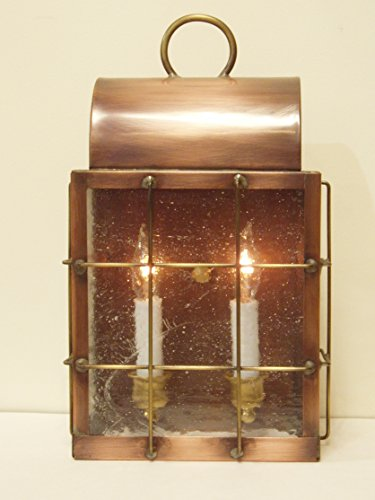 (Hutton Metalcrafts, Inc. Solid Copper Wall Lantern Sconce, Made in USA. Abraham)