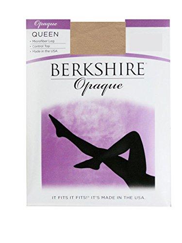 Berkshire Women's Plus-Size Queen Opaque Control Top Tights, Creme Crepe, 1x-2x ()