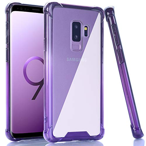 BAISRKE Galaxy S9 Plus Case, Shock Absorption Flexible TPU Soft Edge Bumper Anti-Scratch Rigid Slim Protective Cases Hard Plastic Back Cover for Samsung Galaxy S9+ Plus - Black Purple Gradient