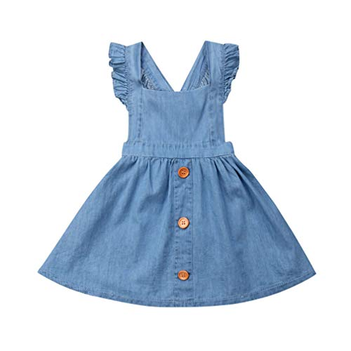 (Specialcal Baby Girls Velvet Suspender Skirt Infant Toddler Ruffled Casual Strap Sundress Summer Outfit Clothes (4-5T, Blue(Button)))
