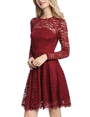 - MAVIS LAVEN Women's Long Sleeve Christmas Backless Hollow Out Crocheted Lace Dress (Medium, Wine Red)