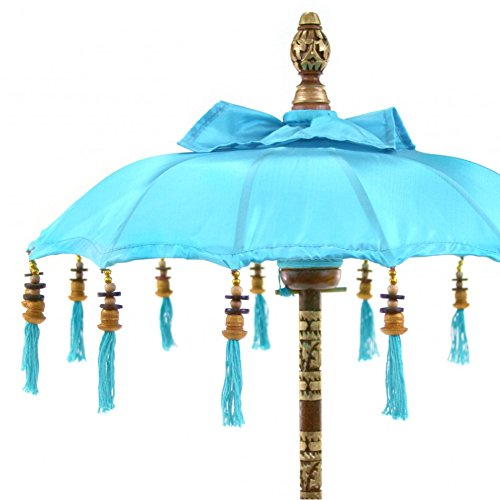 Koyal Wholesale Bali Umbrella Stand, 34-Inch Turquoise Tall Moroccan Style Home Decor Items, Free-Standing Umbrella (Ideas Pinterest Patio Furniture)