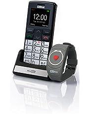 Maxcom MM 715 grote toetsen mobiele telefoon met noodoproeparmband (4,5 cm (1,8 inch) kleurendisplay, groot telefoonboek (300), FM-radio, 1,3 megapixel camera, WAP, bluetooth) zilver/zwart
