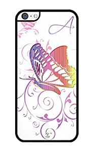 iZERCASE Monogram Personalized Butterfly Abstract Pattern iPhone 5C Case - Fits iPhone 5C T-Mobile, AT&T, Sprint, Verizon and International (Black)