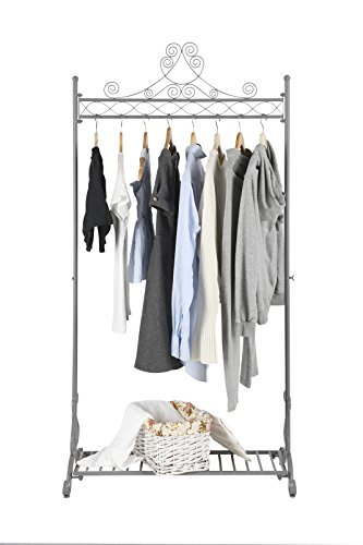 Shabby Chic Clothing - NEUN WELTEN Chic Garment Rack Metal Hanging Clothes Clothing Racks Stand with Bottom Shelf for Shoes (Grey)