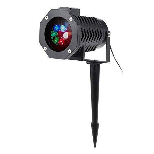 Tomshine Projector Light 10PCS Pattern Spotlight Romantic Brighter 6W 4LED RGBW Snowflake/Love Film Rotating Garden Lamp for Birthday Party Valentine's Day Xmas Decoration Lighting