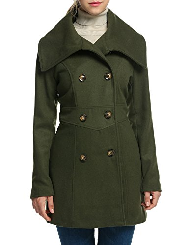 ACEVOG Women's Double-Breasted Fold-Collar Wool-Blend Coat Wool Jacket (L, Army Green)