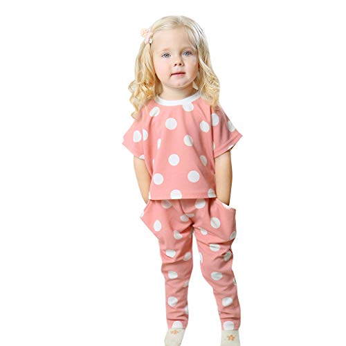 Oufenli Baby Girl Sleepwear Short Sleeve Cotton Floral Print Polka Dot Tops+Pants 2 PC Pajamas Set (Pink, 18-24 Months)