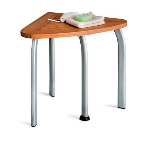 Teak Wood Corner Shower Seat w/Metal Legs Bathroom Stool Mildew Resistant Bath by Home Improvements
