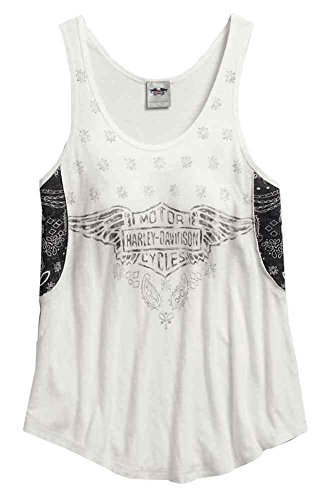 Harley-Davidson Women's Bandana Accent Sleeveless Tank, White 96316-16VW (L) (Bandana Tank Top compare prices)