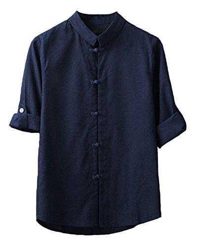 Plaid&Plain Men's Linen Cotton Mandarin Collar Roll-Up Sleeve Frog-Button Shirt 204 DarkBlue S