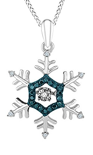 AFFY White & Blue Natural Diamond Snowflake Pendant Necklace in 14k White Gold Over Sterling Silver (0.1 -