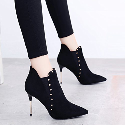 Stiefel KHSKX 10Cm Nieten Metall Hochhackigen Winter Boots Dünnen Schuhe Martin Kurze Chelsea Stiefel Frau p4aqO4