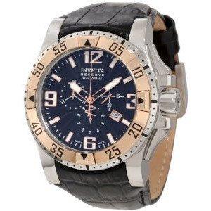 腕時計 Invicta Men's 10899 Excursion Reserve Chronograph Black Textured Dial Black Leather Watch【並行輸入品】 B00PFNDYGY