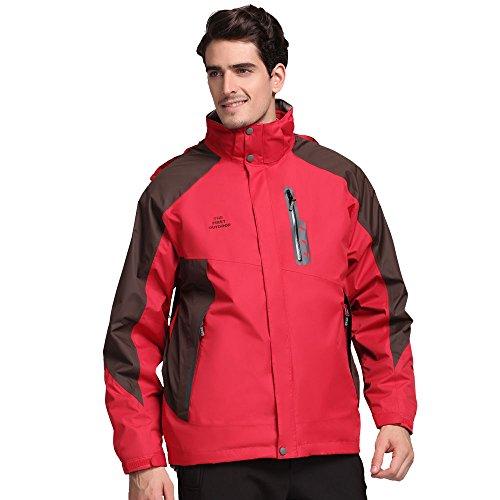 TFO Men's Jacket with Hood Waterproof Windproof Fleece Lined 3 in 1 Ski Hiking (Lined Thermal Jacket)