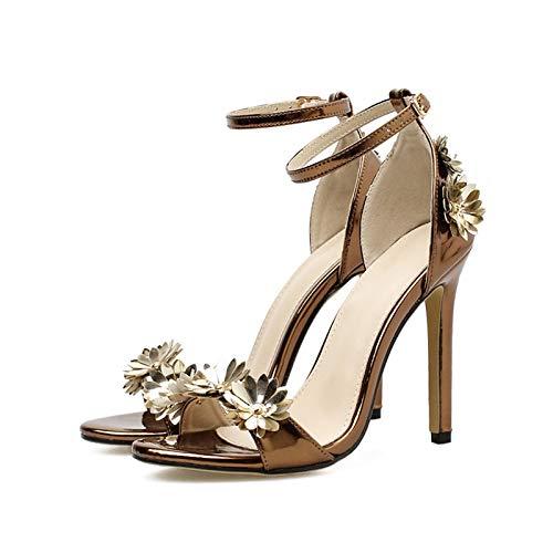 A De Mano Tacón Urtjsdg Sandalias Sandalias Hechos Tacones nbsp;verano 7 Bronce 6 Metálicos Zapatos Mujer Aguja 5 Altos Baile Flor 5q77xPw