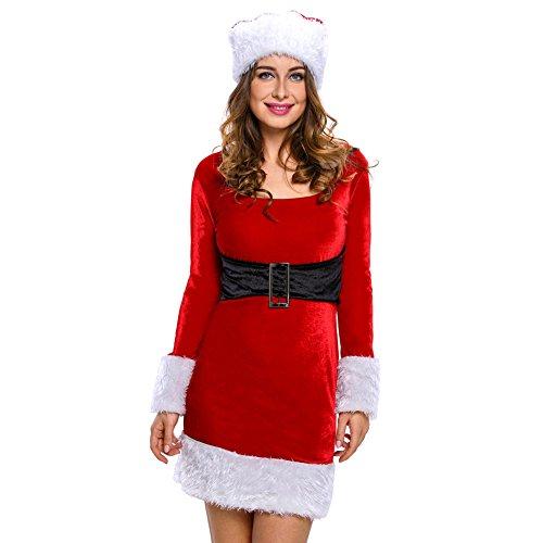 Eternatastic Women's Mrs Santa Claus Costume Velvet Babydoll Dress Red (Mrs Claus Dresses)