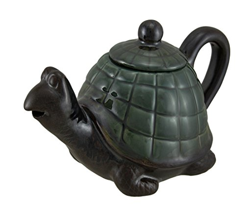 Glossy Green Shell Brown Turtle Shaped Ceramic Teapot Statue 8 Inch