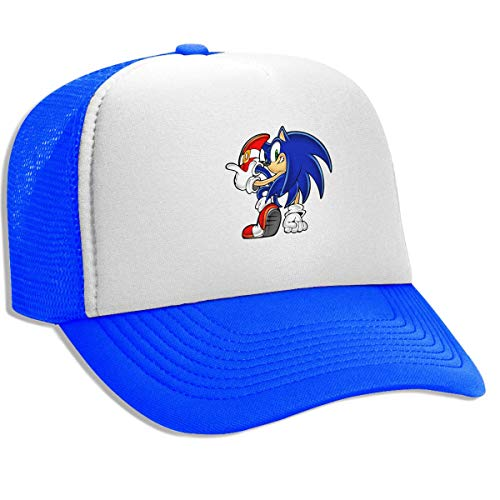 Unisex Adult Trucker Hat Sonic Hedgehog Adjustable Mesh Cap Baseball Cap Blue ()