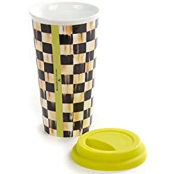 MacKenzie-Childs Porcelain Travel Cup Courtly Check Design Mug Glass – 14oz – Multicolor
