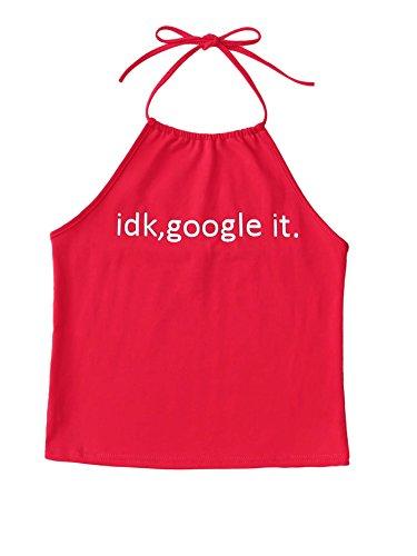 SweatyRocks Women's Summer Halter Crop Tank top Casual Sleeveless Vest Red One Size