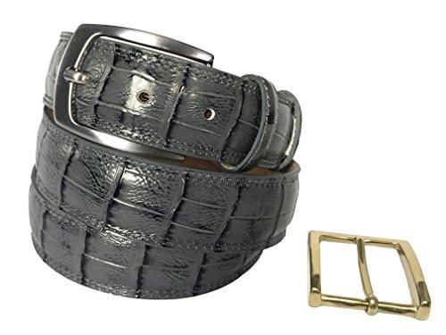 Fresco Golf Full Grain Italian Leather Crocodile Embossed Men's Belt, Gray, 42