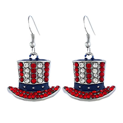Patriotic Red White Blue American USA Flag Star Dangle Drop Earrings 4th of July Independence Day Gift (a)