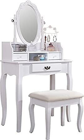 watch a7746 200fe Lumberton Antique Style White Dressing Table with Stool and Adjustable Oval  Mirror