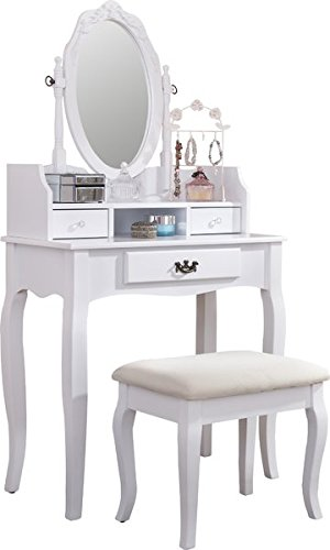 Lumberton Antique Style White Dressing Table With Stool And