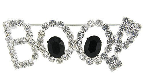 RUL Boo! Word Rhinestone Brooch Pin for Halloween with Clear and Black (Fall Brooch Pin)