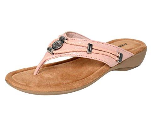 Minnetonka Womens Silverthorne Thong Sandal, Blush Pebbled PU, 6 B(M) - Womens Minnetonka