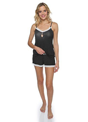 Nanette Nanette Lepore Women's 2 Piece Polka Dots Tank Top and Shorts with Lace Trim Sleepwear Pajama Set Black (2 Piece Polka Dots Panties)