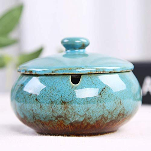 XGPA Handmade Ceramic Ashtray with Lids,Desktop Ash Tray for Office Decoration,Windproof Ashtray,Cigarette Ashtray for Outdoor Use,Ash Holder for Smokers - Best Gift Idea (Blue)