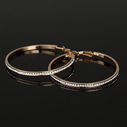 1pair Rhinestone Big Circle Earrings 18K Gold Plated Hoop Earrings - 18k Circle Earrings