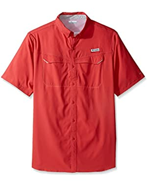 Men's Low Drag Offshore Short Sleeve Shirt, Sunset Red, Large Tall