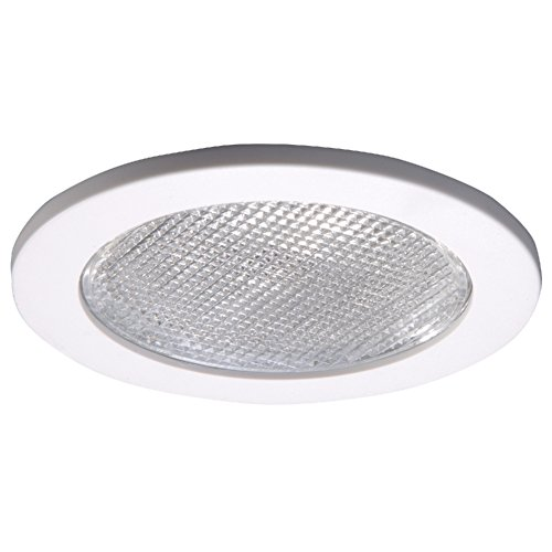 Halo 4055WH E26 Series Recessed Lighting Shower Trim with Prismatic Glass Lens, 4 In, White White Glass Recessed Housing Trim