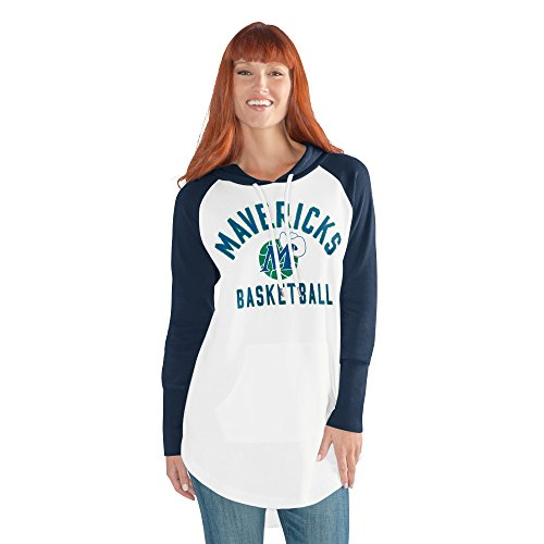 GIII For Her NBA Dallas Mavericks Adult Women All Division Tunic Hoody, X-Large, White/Navy