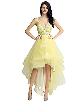 Sarahbridal Women's Hi-Lo Tulle Homecoming Dresses Prom Cocktail Gown SLX230