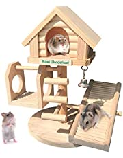 Hamiledyi Natural Dwarf Hamster House Double Decker Wooden Castle Small Animal Hideout Huts with Stair DIY Pet Playground Climbing Ladder Slide Training Play Toys for Chinchilla Rats Gerbil Syrian